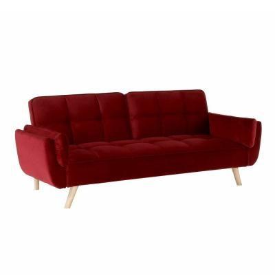3 személyes bársony kanapé, ágyfunkcióval, bordó - POSEIDON